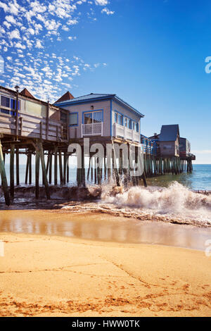 The pier at Old Orchard Beach in Maine, USA on a beautiful sunny day. - Stock Photo