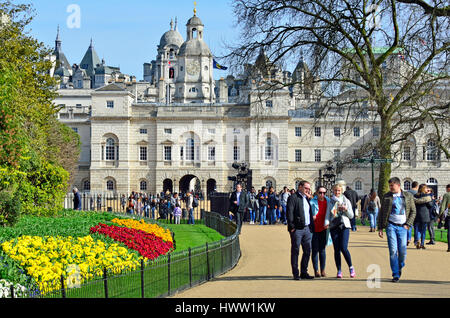 London, England, UK. Horse Guards Parade and the Household Cavalry Museum seen from St James' Park. Springtime - Stock Photo
