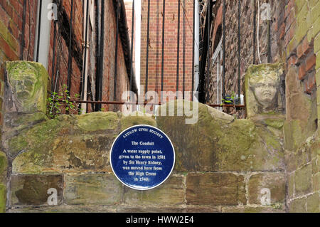 The Conduit and blue plaque, Ludlow. - Stock Photo