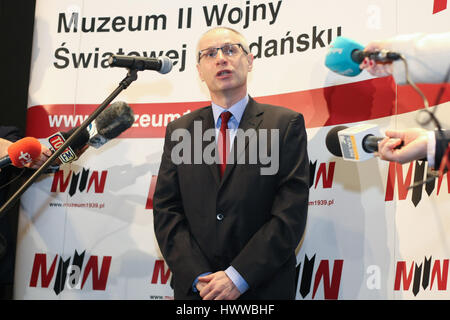 Gdansk, Poland. 23rd Mar, 2017. Pawel Machcewicz the Second World War Museum director is seen on 23 March 2017 in - Stock Photo
