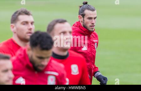 Vale Resort, Vale of Glamorgan, Wales, UK. Mar 23rd 2017. Gareth Bale during Wales national team training at Hensol - Stock Photo