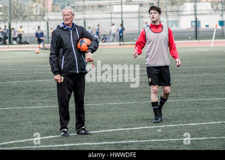 Gibraltar – 23rd March 2017 – Head Coach Jeff Wood and Anthony Hernandez from Gibraltar United during training. - Stock Photo