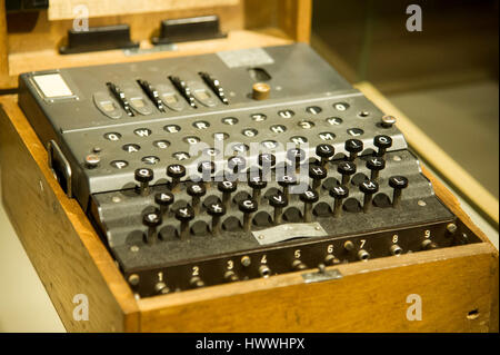 Gdansk, Poland. 23rd March, 2017. Gdansk, Poland. 23rd Mar, 2017. Enigma machine, German electro mechanical rotor - Stock Photo