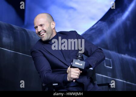 Beijing, China. 23rd Mar, 2017. Jason Statham and Charlize Theron attend the production conference of The Fate of - Stock Photo