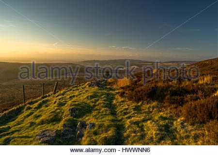 Black Hambleton Hill, North York Moors, UK. 23rd March, 2017. Weather: a dry and sunny end to the day just before - Stock Photo