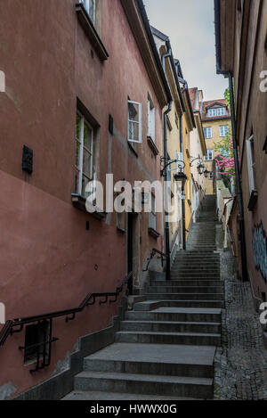 Kamienne Schodki (Stone Stairs or Stone Steps) Street on the Old Town of Warsaw city in Poland - Stock Photo