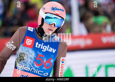 Planica, Slovenia. 23rd Mar, 2017. Kubacki Dawid of Poland competes during Planica FIS Ski Jumping World Cup qualifications - Stock Photo