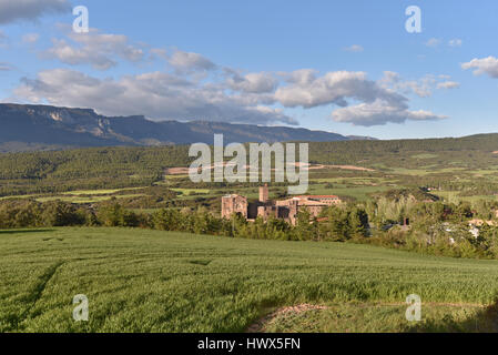 The castle of Xavier in the hills of Navarra - Stock Photo