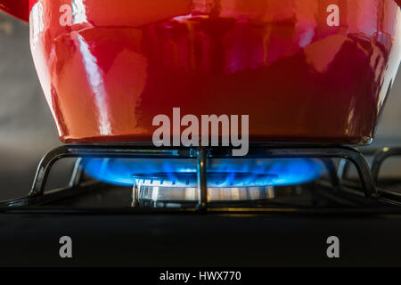 A bright red pot sits on top of a gas hob as blue flames slowly cook the contents. - Stock Photo