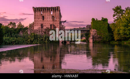Evening in Borghetto, Valeggio sul Mincio, Italy. - Stock Photo
