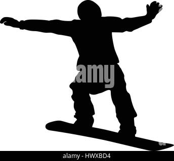 snowboard competition male snowboarder jump black silhouette - Stock Photo