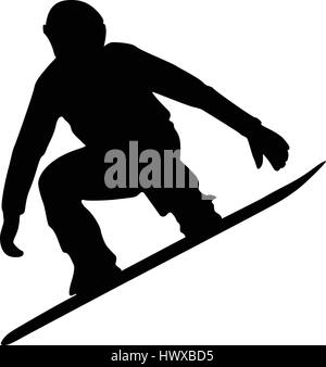snowboard competition male athlete jump black silhouette - Stock Photo
