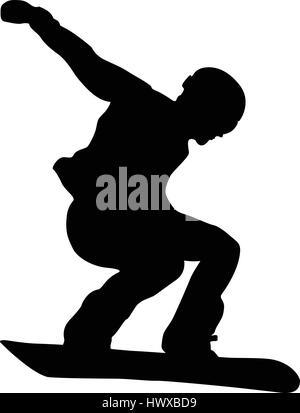 male athlete snowboarder jump black silhouette - Stock Photo