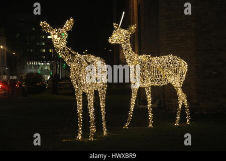 cardiff deer christmas lights cardiff deer christmas lights stock photo - Deer Christmas Lights