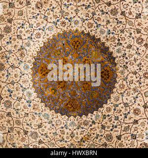 Mosaic tiled dome of Qapu Palace, Imam Square, Isfahan, Iran - Stock Photo