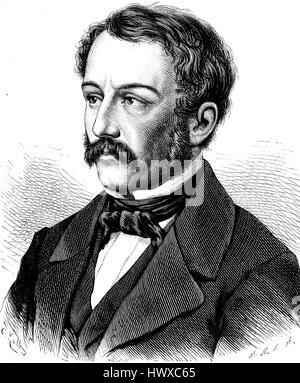 Nikolaus Lenau was the nom de plume of Nikolaus Franz Niembsch Edler von Strehlenau, 25 August 1802 - 22 August - Stock Photo