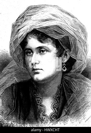 Porcia with veil, young girl with veil, portrait, symbolic, Porcia Catonis, 70 BC - 43 BC, in full Porcia Catonis - Stock Photo