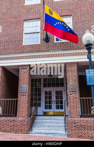 Washington DC, USA - March 20, 2017: Embassy of the Bolivarian Republic of Venezuela sign with flag and entrance - Stock Photo