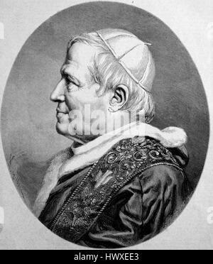 Pope Pius IX.,  13 May 1792 - 7 February 1878, born Giovanni Maria Mastai-Ferretti, reigned as Pope from 16 June - Stock Photo