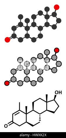 Metenolone anabolic steroid molecule. Used (banned) in sports doping. Stylized 2D renderings and conventional skeletal - Stock Photo