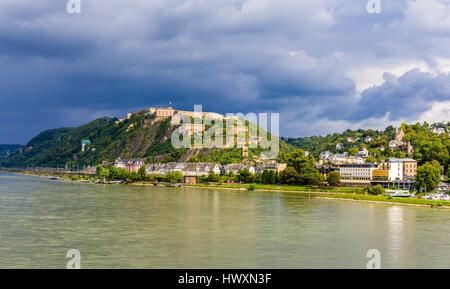 View of Fortress Ehrenbreitstein in Koblenz, Germany - Stock Photo
