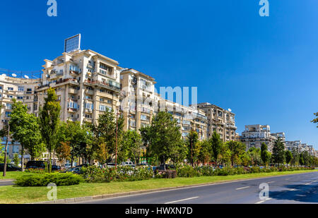 Residential buildings in Unirii Boulevard - Bucharest, Romania - Stock Photo