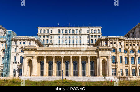 Palace of the Parliament in Bucharest, Romania - Stock Photo
