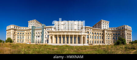 Panorama of The Palace of Parliament in Bucharest, Romania - Stock Photo
