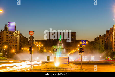 Fountain in Unirii Square - Bucharest, Romania - Stock Photo