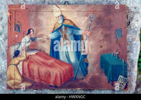 Italy Emilia Romagna Sarsina: Co-Cathedral Church dedicated to Santa Maria Annunziata: Ex voto in San Vicinio painting - Stock Photo