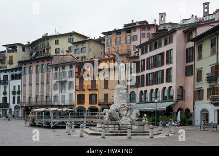 Square in Lovere, on the Iseo Lake, Italy - Stock Photo