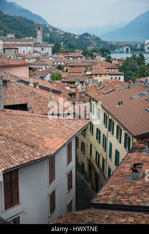 Roofs of the center of Lovere, on the Iseo Lake, Italy - Stock Photo