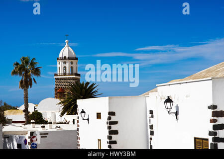 Center of teguise, Lanzarote. Within the typical architecture the tower of Iglesia de Nuestra Señora de Guadalupe - Stock Photo