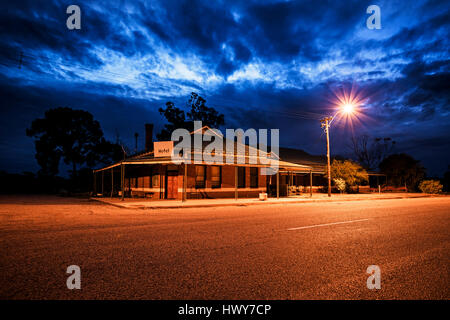 Abandoned hotel in Outback. Road in a gold mining town with abandoned hotel. Western Australia, Australia - Stock Photo
