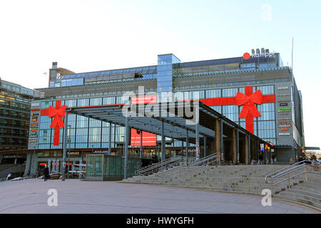 HELSINKI, FINLAND - DECEMBER 8, 2015: Kamppi shopping center with bus terminals and metro station decorated for - Stock Photo