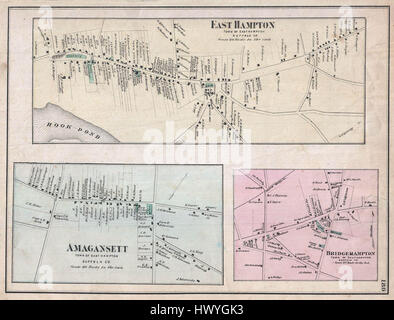 1873 Beers Map of East Hampton Bridgehampton and Amagansett