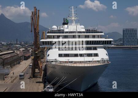 The World cruise ship moored in Rio de Janeiro, Brazil - Stock Photo