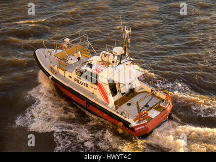 Pilot boat, comes to ship to collect pilot, Montevideo, Uruguay - Stock Photo