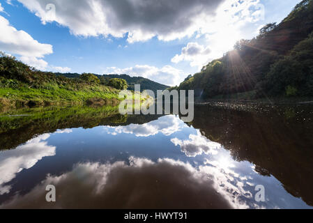 Wye Valley view from Bigsweir Bridge - Stock Photo