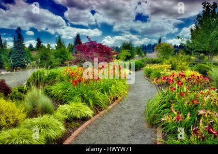 Pathway in Oregon Garden. Oregon - Stock Photo