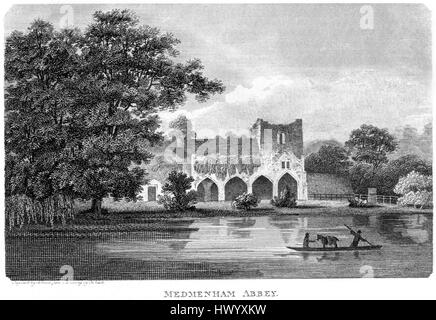 An engraving of Medmenham Abbey, Buckinghamshire scanned at high resolution from a book printed in 1812.  .Believed - Stock Photo