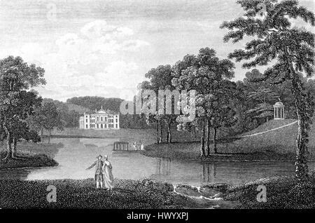 An engraving of Wycombe House, Buckinghamshire scanned at high resolution from a book printed in 1812.  .Believed - Stock Photo