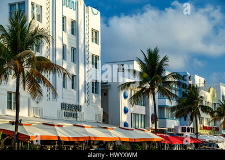 Row of hotels, South Beach, Miami Beach, Florida USA - Stock Photo