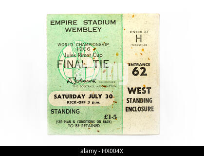 A ticket from the 1966 World Cup Final where England beat West Germany 4-2 - Stock Photo