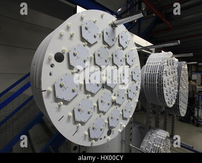 LED lights in manufacturing assembly - Stock Photo