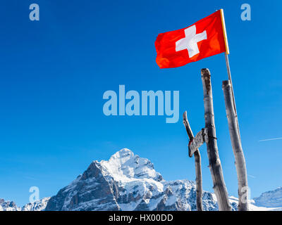 Switzerland, Canton of Bern, Grindelwald, Swiss flag in the mountains - Stock Photo