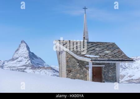 Bruder Klaus, Riffelberg Kapelle, Matterhorn, Zermatt, Gornergrat, Valais, Switzerland, Europe - Stock Photo