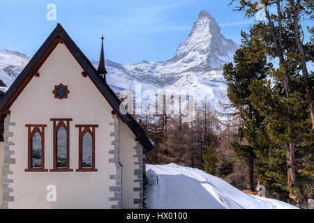 Riffelalp, Riffelberg, Matterhorn, Zermatt, Gornergrat, Valais, Switzerland, Europe - Stock Photo