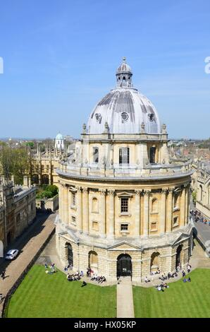 OXFORD ENGLAND  20 April 2015:  Radcliffe camera from Church Tower - Stock Photo
