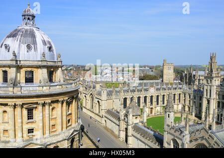 OXFORD ENGLAND  20 April 2015:  Radcliffe camera and all souls college from Church Tower - Stock Photo